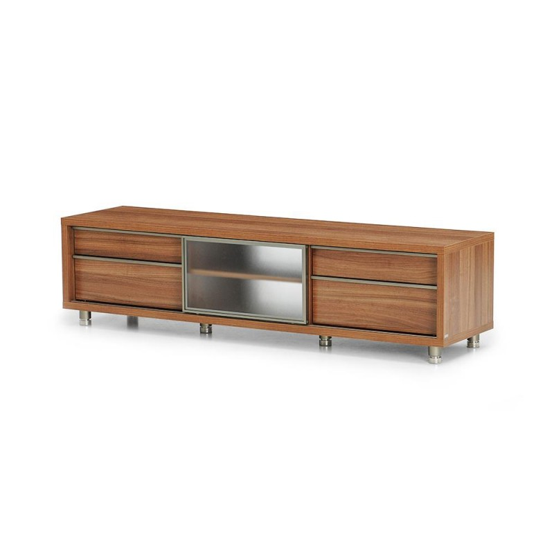 RED APPLE WOODEN TV BENCH WITH 1 SLIDING GLASS DOOR AND 4 DRAWERS TR082-72