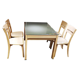 Red apple glass surface opening and closing dining table with four solid wood dining chairs-TR221-42 + TR465B