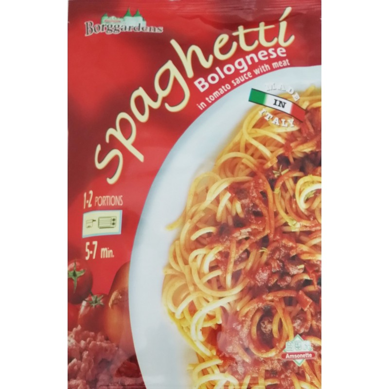 Italy Borggardens Spaghetti Bolognese In Tomato Sauce With Meat 160g.