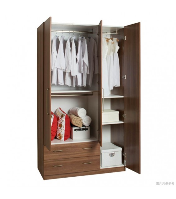 RED APPLE WOODEN WARDROBE WITH 3 HINGED DOORS + 2 DRAWERS R932-48
