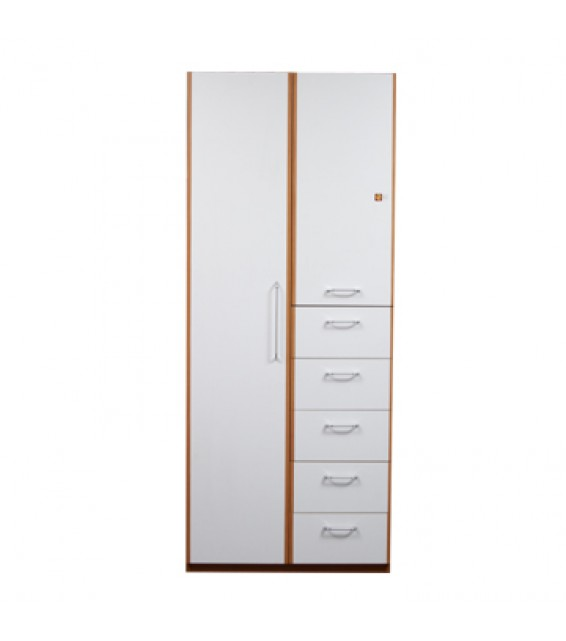 RED APPLE WOODEN WARDROBE WITH 2 DOORS + 5 DRAWERS R952-35