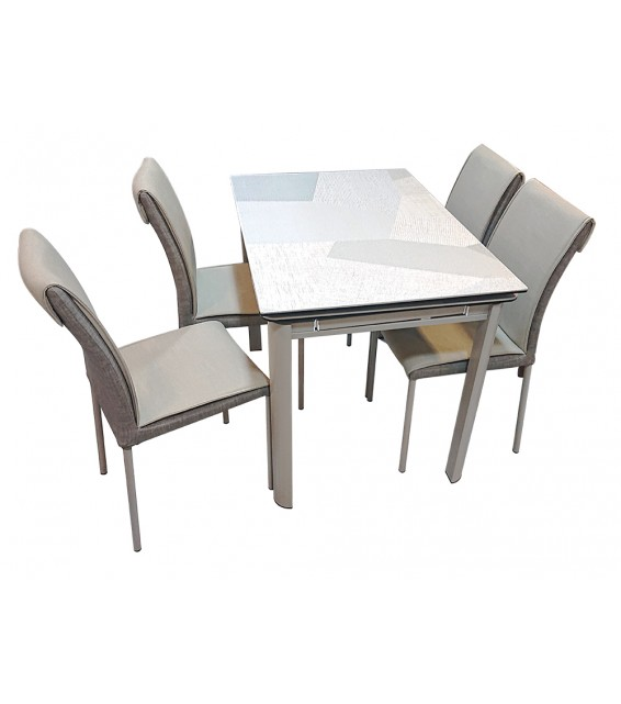 Ceramic Glass Extendable Dinning Table With Four Chairs 813-38+B