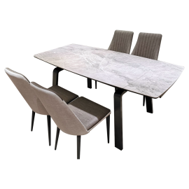 Ceramic Glass Extendable Dinning Table With Four Chairs A613+A1605/A1610