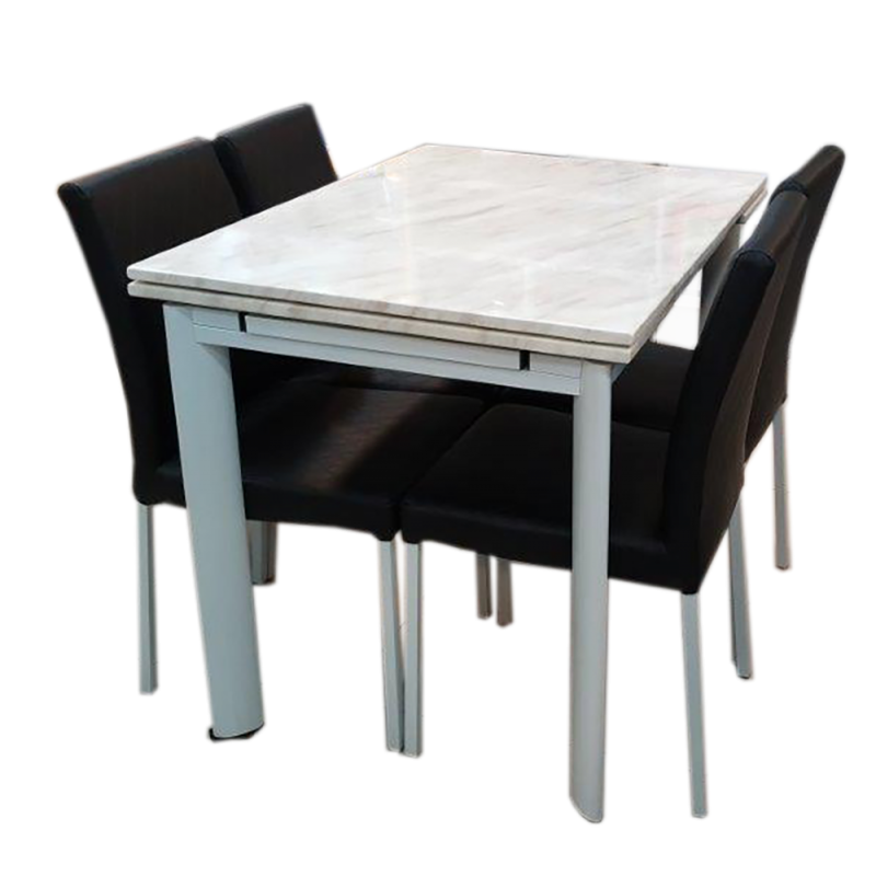 White Imitated Marble Stone Extendable Dinning Table With Four Chairs DM11+DY318