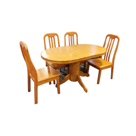 Hard Wood Dinning Table With 4 Chairs ZH8011BR-A2+ZH250W