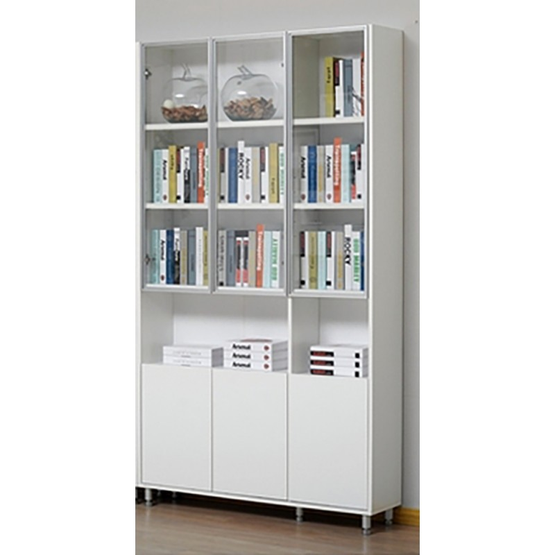 RED APPLE WOODEN BOOKCASE WITH 3 GLASS HINGED DOOR AND 3 WOODEN HINGED DOOR E731-1.2