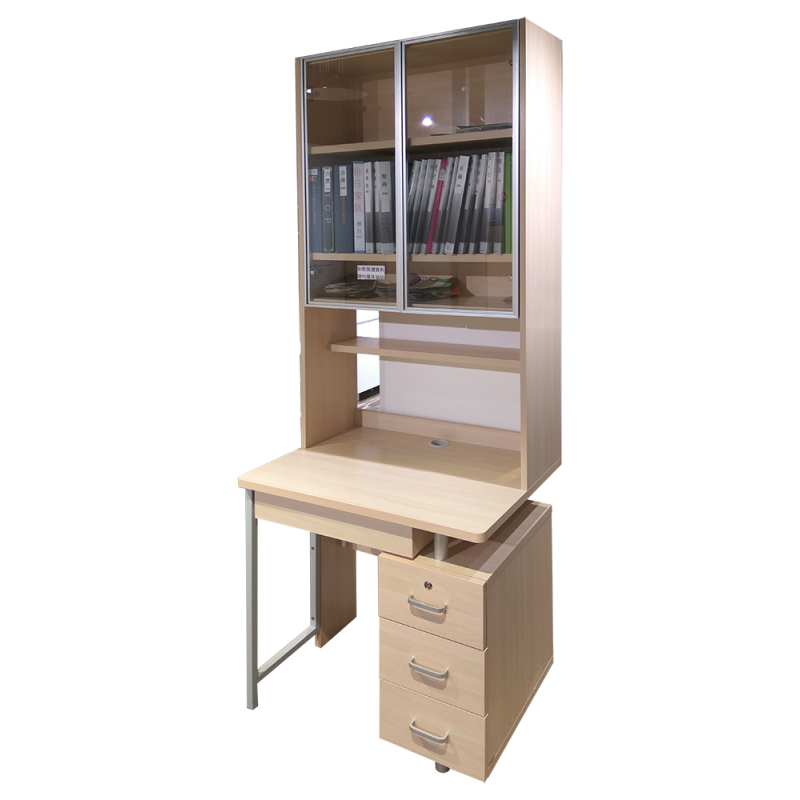 RED APPLE WOODEN DESK AND BOOKCASE WITH GLASS DOOR E730T-0.8 + R730-0.8S