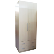 RED APPLE WOODEN WARDROBE WITH 2 HINGED DOORS AND 2 DRAWERS R932-35