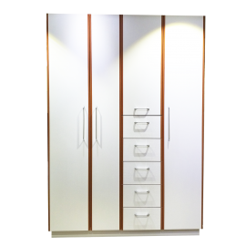 RED APPLE WOODEN WARDROBE WITH HINGED DOORS AND 5 DRAWERS R921-1.5