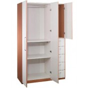 RED APPLE WOODEN WARDROBE WITH 3 DOORS + 5 DRAWERS R952-48