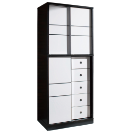 Wooden Wardrobe With Sliding Doors and 5 Drawers WC-48877D