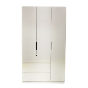 "Wooden Wardrobe With 3 Hinged Doors And 3 Drawers 48"" WP04W48"