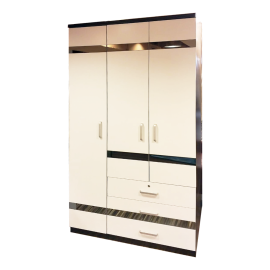 Wooden Wardrobe With 3 Hinged Doors And 3 Drawers And Inside Mirror H10848E