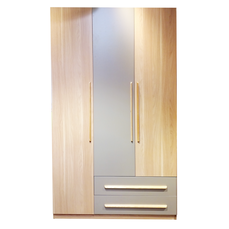 """Wooden Wardrobe With 3 Hinged Doors And 2 Drawers 48"""" A187-01"""