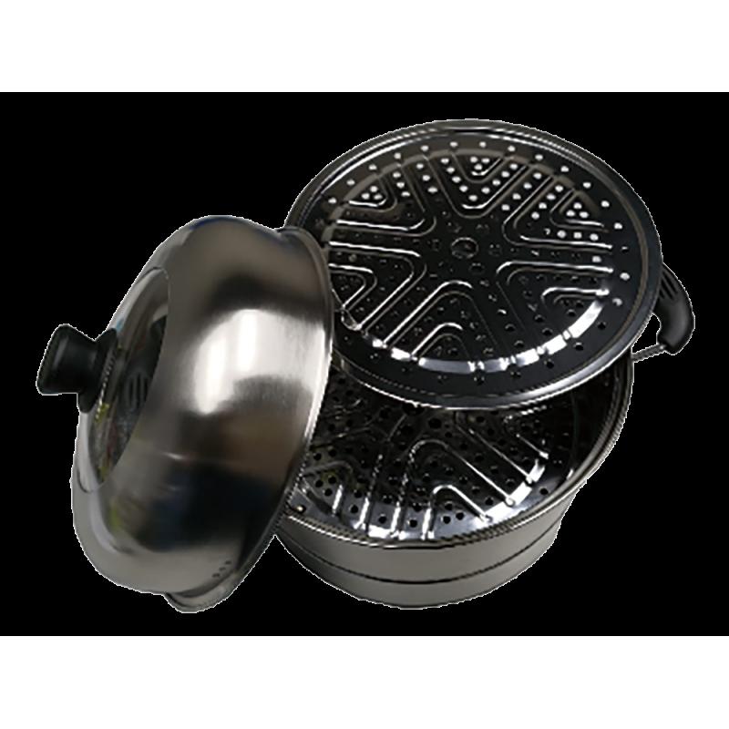 不銹鋼30厘米三層雙耳煲連蒸隔